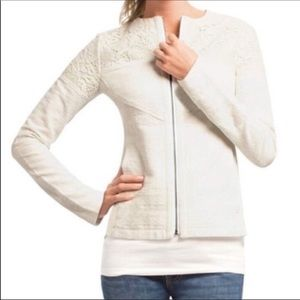 CAbi Creme Lace Zip Up Occasion Jacket sz M